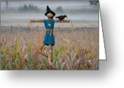 Scarecrow Greeting Cards - If I Only Had a Brain Greeting Card by Bill Cannon