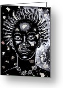 Black Art Greeting Cards - If Only For One Nite Greeting Card by Larry Poncho Brown