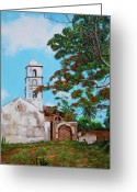 Cuban Painter Greeting Cards - Iglesia de Santa Anna Greeting Card by Dominica Alcantara