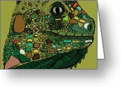 Iguana Greeting Cards - Iguana - Color Greeting Card by Karl Addison