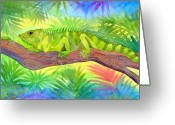 Iguana Greeting Cards - Iguana Greeting Card by Jennifer Baird