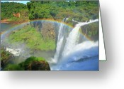 Rainbows Greeting Cards - Iguazu Rainbow Greeting Card by Bruce J Robinson