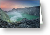 Volcanic Greeting Cards - Ijen Crater Greeting Card by Alexey Galyzin