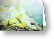 Fumarole Greeting Cards - Ijen crater Greeting Card by MotHaiBaPhoto Prints