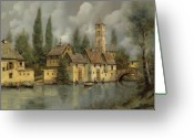 Green Painting Greeting Cards - Il Borgo Sul Fiume Greeting Card by Guido Borelli