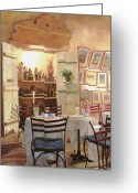 Shadow Painting Greeting Cards - Il Caffe Dellarmadio Greeting Card by Guido Borelli