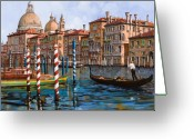 Night Greeting Cards - Il Canal Grande Greeting Card by Guido Borelli