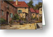 Farm Painting Greeting Cards - Il Carretto Greeting Card by Guido Borelli