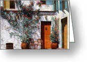 Greece Greeting Cards - Il Cortile Bianco Greeting Card by Guido Borelli