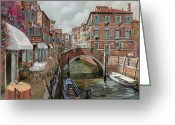 Canal Greeting Cards - Il Fosso Ombroso Greeting Card by Guido Borelli