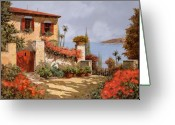 House Tapestries Textiles Greeting Cards - Il Giardino Rosso Greeting Card by Guido Borelli