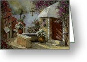 Street Scene Greeting Cards - Il Lampione Oltre La Tenda Greeting Card by Guido Borelli