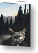 Cat Profile Greeting Cards - il Magnifico Greeting Card by Perry Woodfin