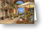Market Greeting Cards - Il Mercato Del Lago Greeting Card by Guido Borelli