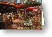 Old Painting Greeting Cards - Il Mercato Di Quartiere Greeting Card by Guido Borelli