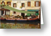 Boat Greeting Cards - il mercato galleggiante a Venezia Greeting Card by Guido Borelli