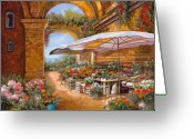 Umbrella Painting Greeting Cards - Il Mercato Sotto I Portici Greeting Card by Guido Borelli