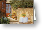 Wall Greeting Cards - Il Muretto E Il Tavolo Greeting Card by Guido Borelli