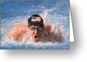 Water Swimming Pool Greeting Cards - Il Nuotatore Greeting Card by Guido Borelli