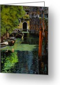 Canals Painting Greeting Cards - il palo rosso a Venezia Greeting Card by Guido Borelli