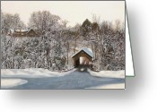 Covered Bridge Painting Greeting Cards - Il Ponte Coperto Di Legno Greeting Card by Guido Borelli
