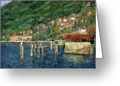 Green Painting Greeting Cards - il porto di Bellano Greeting Card by Guido Borelli