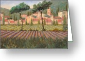 Hill Painting Greeting Cards - Il Villaggio Tra I Campi Di Lavanda Greeting Card by Guido Borelli