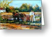 Autumn In The Country Painting Greeting Cards - Ile Dorleans Farm Country Quebec Summer Landscape Greeting Card by Carole Spandau
