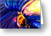 Ignite Greeting Cards - Illuminate Abstract  Greeting Card by Alexander Butler