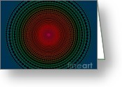 Gradient Greeting Cards - Illuminate Dark Circle  Greeting Card by Atiketta Sangasaeng