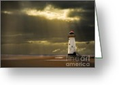 Coastline Greeting Cards - Illuminated Beacon Greeting Card by Meirion Matthias