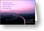Purple Clouds Greeting Cards - Illuminated Highway at Dusk - Greeting Card with Scripture Verse Greeting Card by Yali Shi