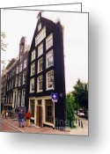 City Illusion Greeting Cards - Illusion of a two dimensional building in Amsterdam Greeting Card by Halifax Artist John Malone