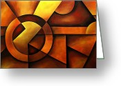 Geometrical Art Painting Greeting Cards - Illusion of Depth Greeting Card by Uma Devi