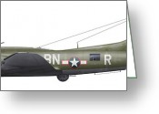 Old-fashion Digital Art Greeting Cards - Illustration Of A Boeing B-17f Knockout Greeting Card by Chris Sandham-Bailey