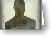 Portraits Photo Greeting Cards - Illustration of a human bust. Silhouette Greeting Card by Bernard Jaubert
