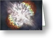 Milky Way Galaxy Greeting Cards - Illustration Of A Supernova Greeting Card by Science Source
