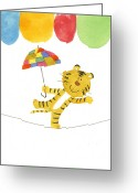 Walking Tightrope Greeting Cards - Illustration Of A Tiger Walking A Tight Rope With A Colorful Umbrella Greeting Card by Michiko Maeda