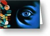 Pills Greeting Cards - Illustration Of An Eye, With Pills Superimposed Greeting Card by David Gifford