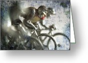 Bike Rider Greeting Cards - Illustration of cyclists Greeting Card by Bernard Jaubert