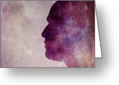 Persons Greeting Cards - Illustration of human head. Silhouette Greeting Card by Bernard Jaubert