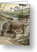 Extinction Greeting Cards - Illustration Of Lystrosaurus Greeting Card by John Sibbick