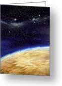 Starfield Greeting Cards - Illustration Of Part Of The Earth On A Starfield Greeting Card by David Ducros
