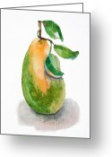 Sweet Spot Greeting Cards - Illustration of pear  Greeting Card by Regina Jershova