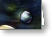 Science Fiction Digital Art Greeting Cards - Illustration Of Planets In Outer Space Greeting Card by Vlad Gerasimov