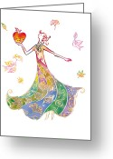 Holding Flower Greeting Cards - Illustration Of Woman In Colourful Dress Holding Apple Greeting Card by Tetsuro Okabe