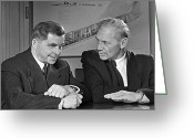 1950s Portraits Photo Greeting Cards - Ilyushin And Kokkinaki, Aviation Pioneers Greeting Card by Ria Novosti