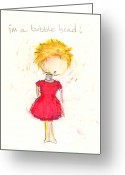 Little Girls98 Greeting Cards - Im a Bobble Head Greeting Card by Ricky Sencion