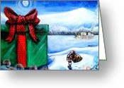 Snowy Night Greeting Cards - Im going to need a bigger sleigh Greeting Card by Shana Rowe
