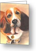 Dogs Pastels Greeting Cards - Im Innocent...The Cat Did It Greeting Card by Arline Wagner